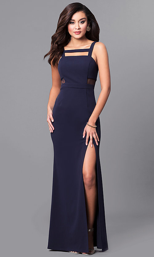 Navy Blue Long Cut-Out Prom Dress - PromGi