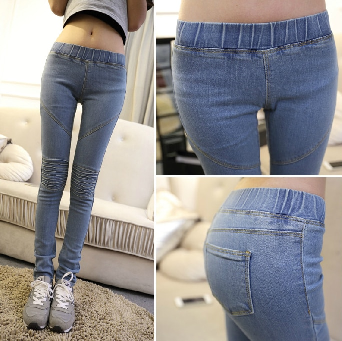 New women Slim wear white washed low rise jeans bottoming elastic .