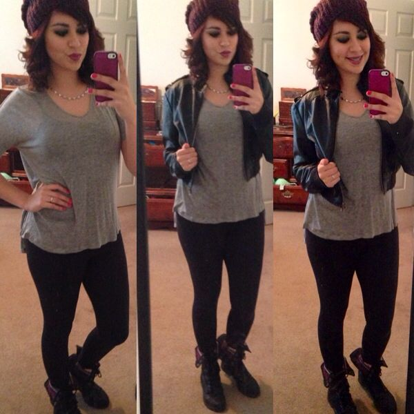 Fall wear! Leggins, leather jacket, fold over combat boots and .
