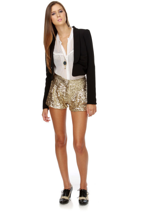 Cute Sequin Shorts - Gold Shorts - Tap Shorts - $55.00 - Lul