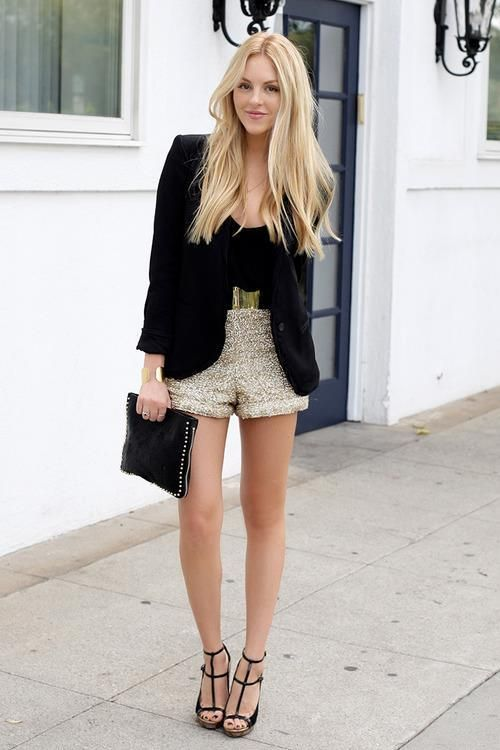 How to wear sequin shorts | Fashion, New years eve outfits, Eve outf