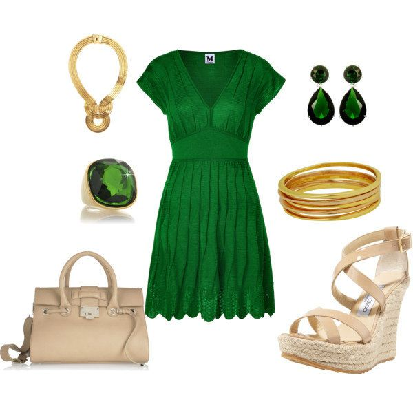 Emerald green dress with gold accessories. | Emerald green .