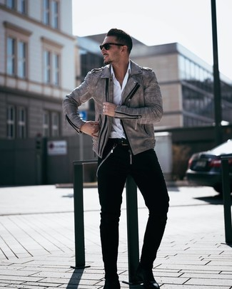 Grey Leather Jacket Outfits For Men (23 ideas & outfits) | Lookast