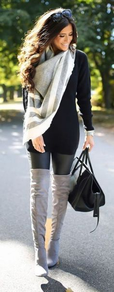 20 Style Tips On How To Wear Grey Boots | Fashion, Winter fashion .