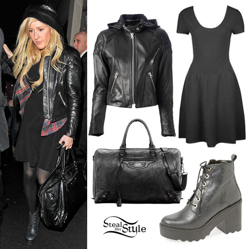 Ellie Goulding: Hooded Leather Jacket Outfit | Steal Her Sty