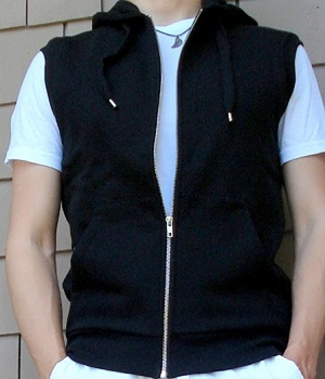 H&M Black Zip Up Hooded Vest - Men's Fashion For Le
