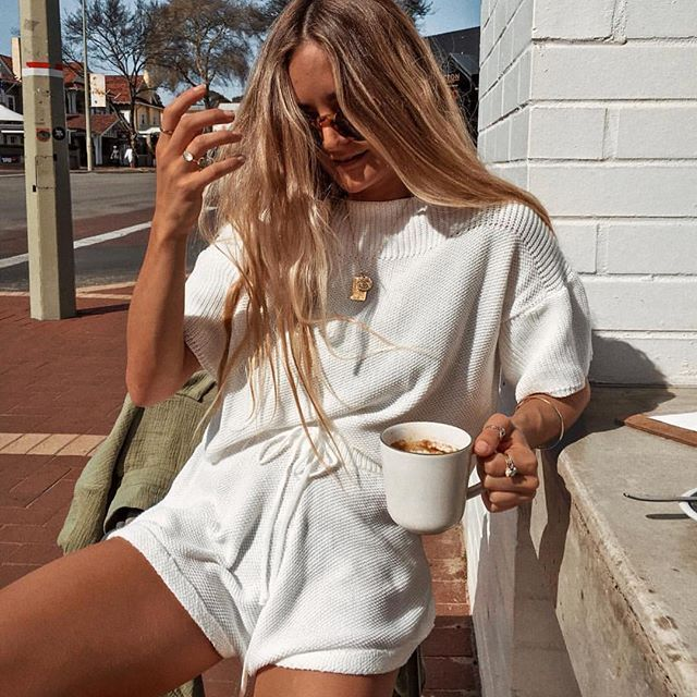 Babe @edi.bee wearing our Cali Knit Shorts and Cali Knit Top .