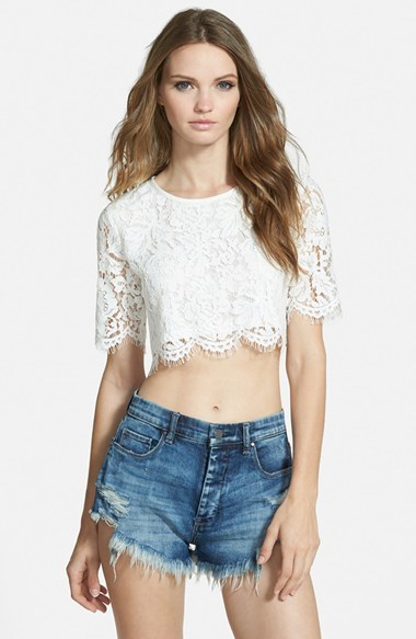 Missguided Scalloped Lace Crop Top, $42 | Nordstrom | Lookast