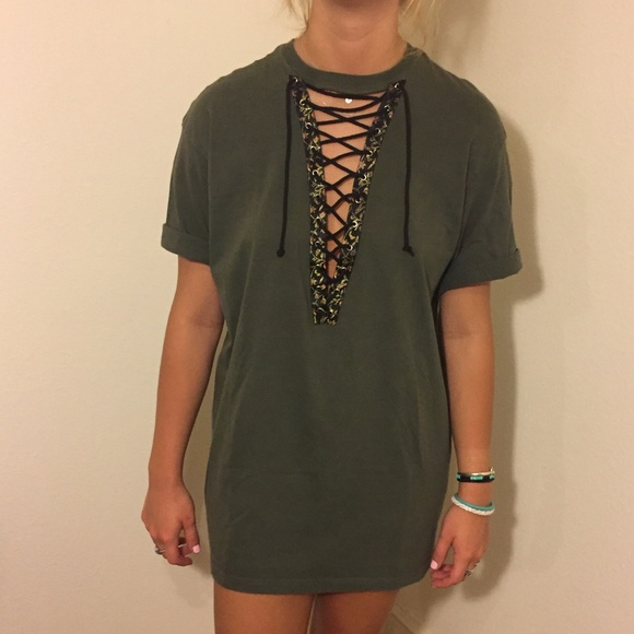 Free People Tops | Green Floral Lace Up T Shirt Dress | Poshma
