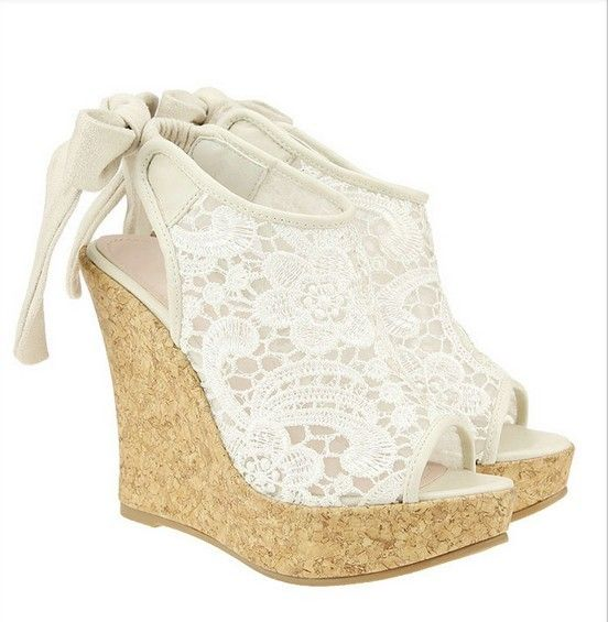 Pin by Zoe Psarouthakis on Bride Stuff   Wedge wedding shoes, Lace .