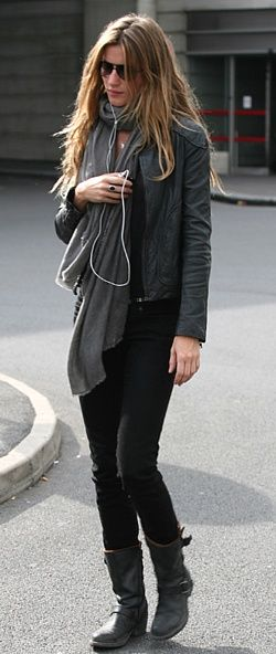 Gisele motorcycle boot. Love this fall look head to toe .