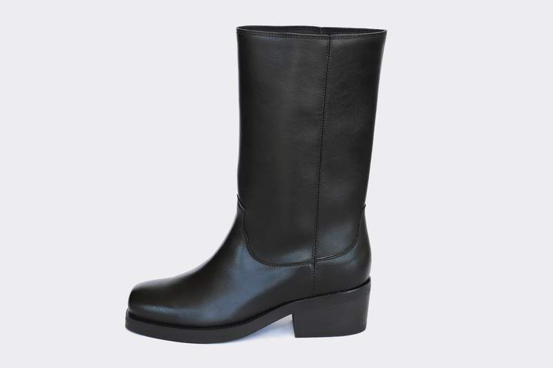 Willie High Top Vegan Leather Motorcycle Boots | Black .