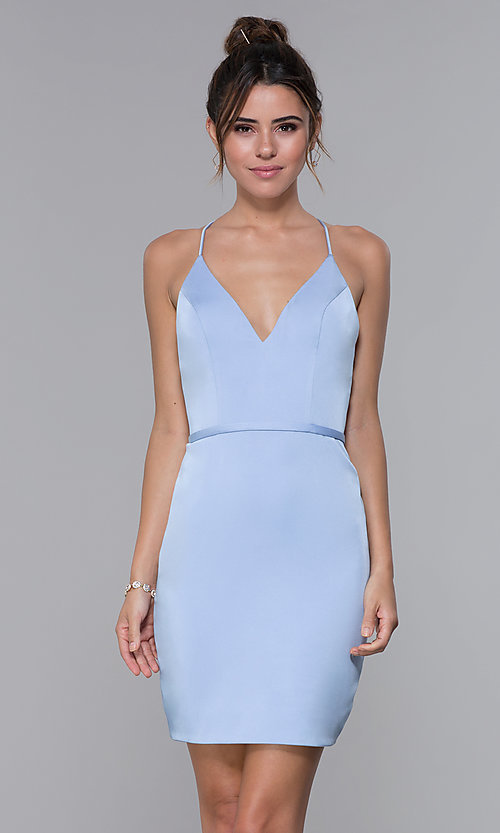 JVNX by Jovani Short Light Blue Homecoming Dre