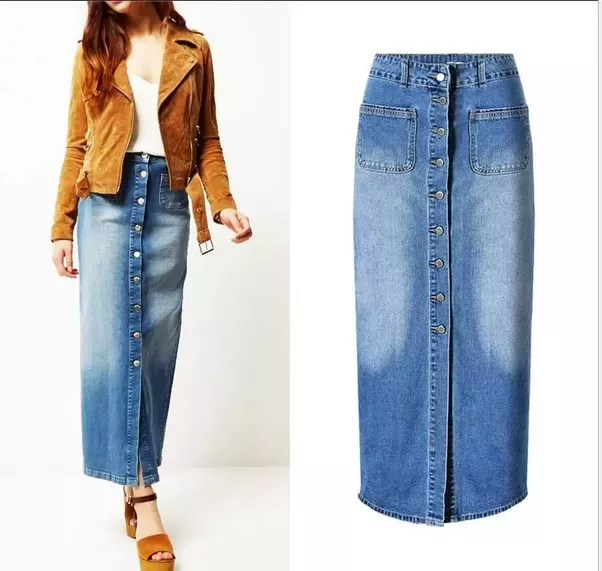 Image result for how to wear long denim skirts   Womens maxi .