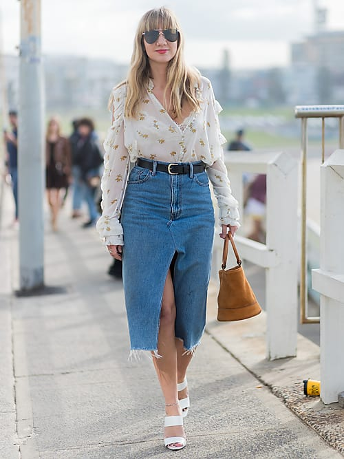 How to wear a denim skirt like an adult | Stylig