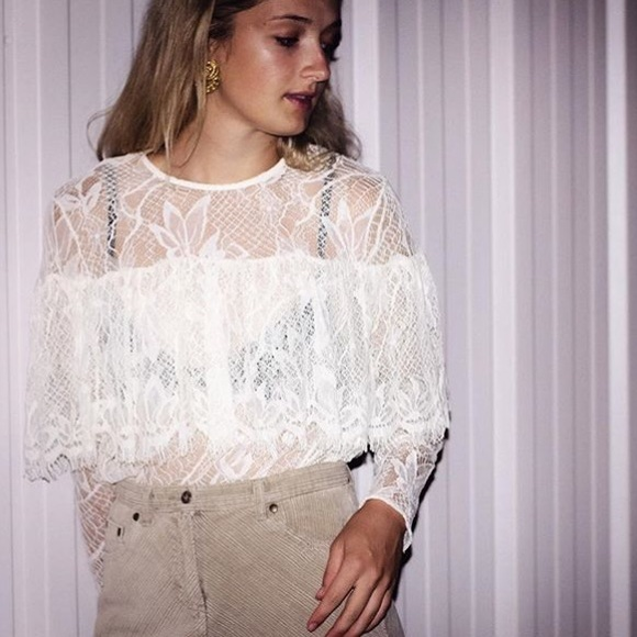 Who What Wear Tops | Lace Blouse Long Sleeve Lace Top | Poshma