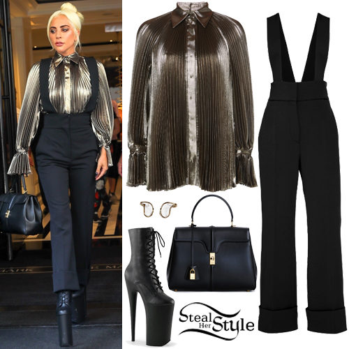 Lady Gaga: Metallic Shirt, Black Pants | Steal Her Sty