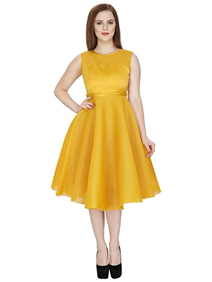 Buy SVT ADA COLLECTIONS Mustard Color NET Party WEAR MIDI Dress .