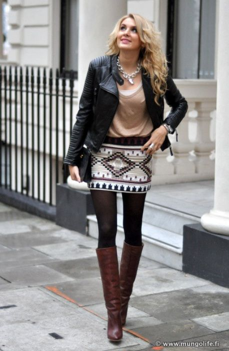 How to Wear a Skirt With Boots | Fashion, Skirts with boots, Mini .