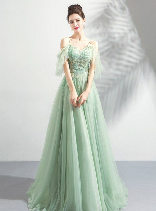 In Stock:Ship in 48 Hours Green Tulle Spaghetti Straps Appliques .