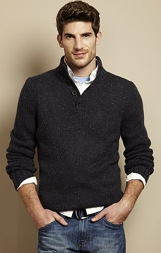 Button-Up Mockneck Sweater! With collared shirt underneath. (But I .