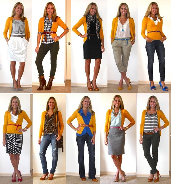 10 ways to wear a mustard cardigan | Yellow cardigan outfits .