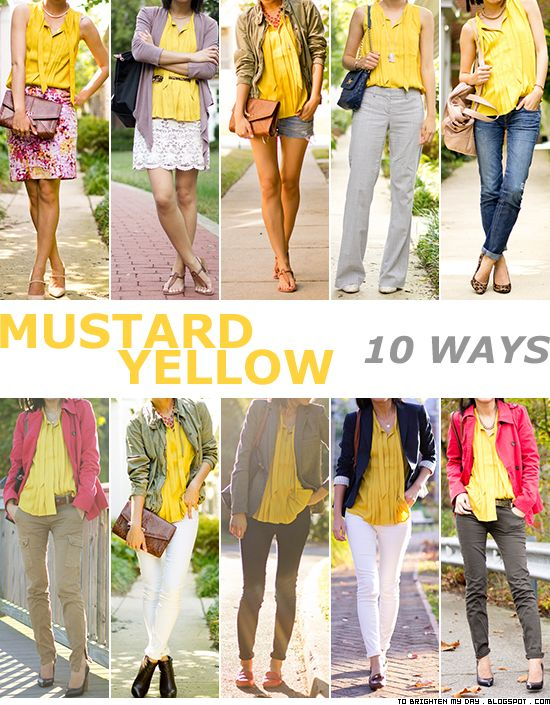 10 ways to wear mustard yellow | Yellow top outfit, Mustard yellow .