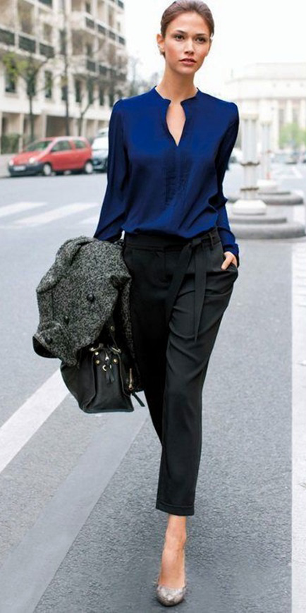 Navy blue blouses | HOWTOWEAR Fashi