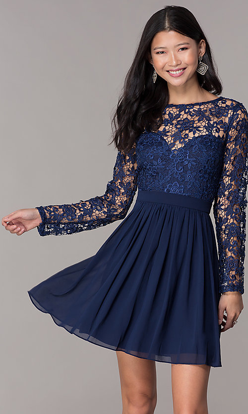 Short Homecoming Dress with Long-Sleeve Lace Bodi