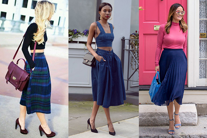 Navy blue midi skirts | HOWTOWEAR Fashi