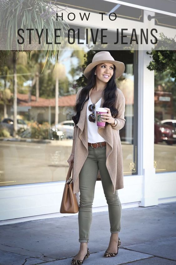 HOW TO WEAR OLIVE JEANS FOR FALL #Outfits #Fall | Olive green .