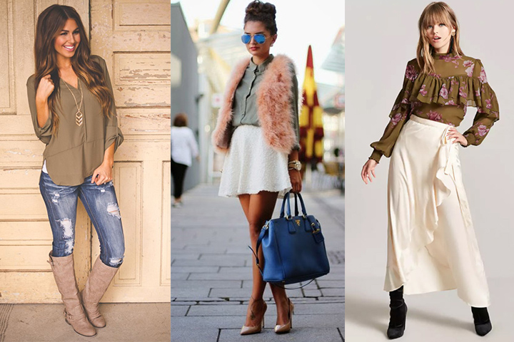 Olive green blouses | HOWTOWEAR Fashi