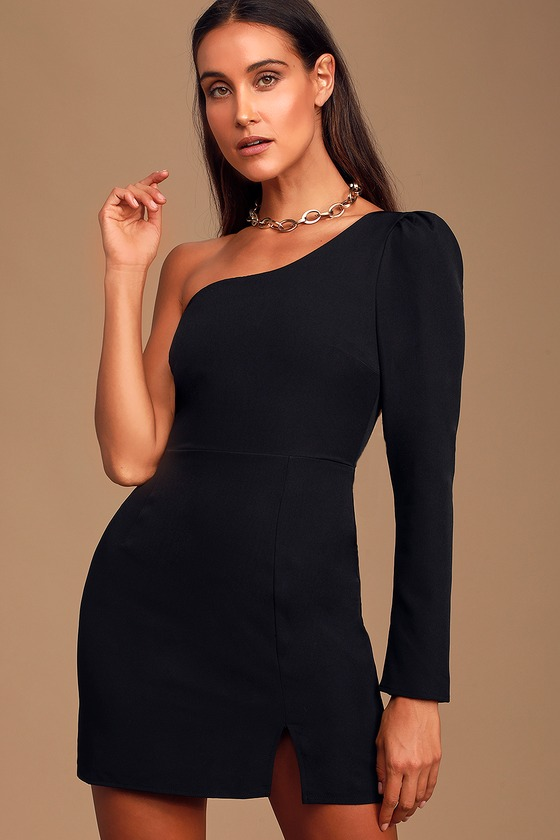 Lovely Black Dress - One-Shoulder Dress - Bodycon Dress - LBD - Lul