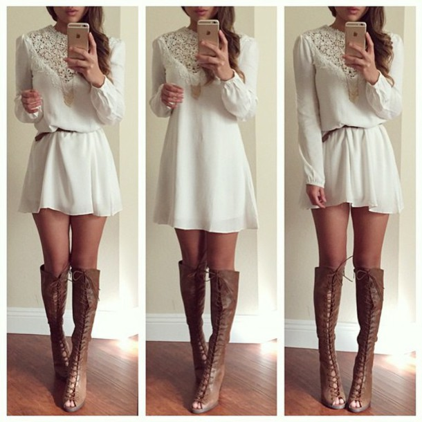 shoes, breckelle's, lace up, chunky heels, peep toe boots, knee .