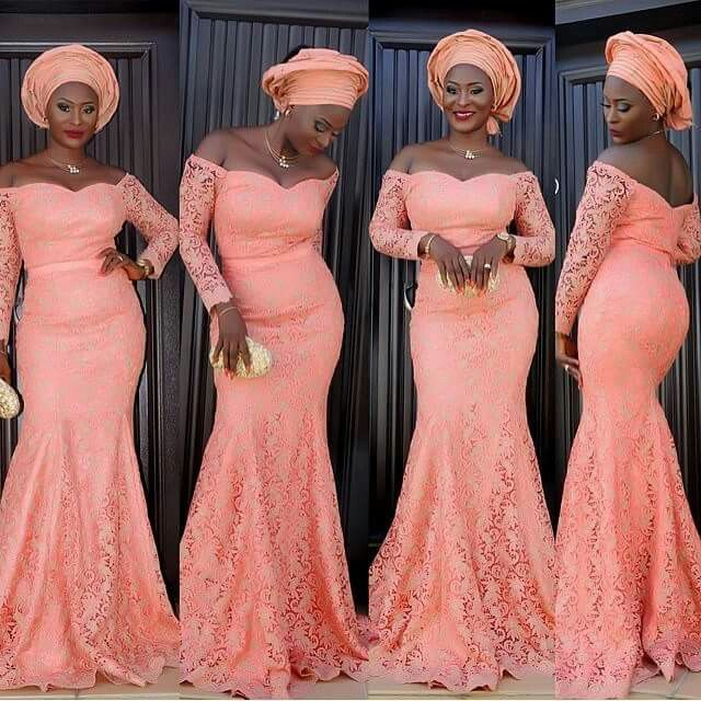 Peach AsoEbi | Lace dress styles, Nigerian lace dress, Nigerian .