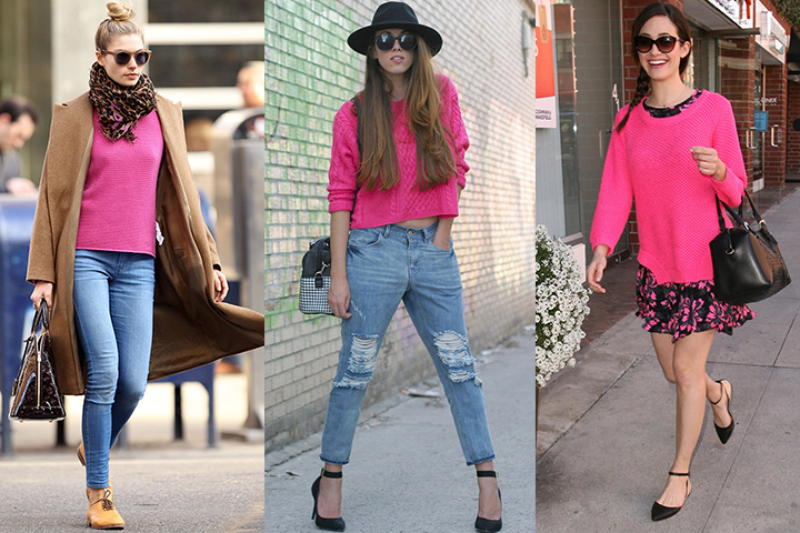 Magenta pullover sweaters | HOWTOWEAR Fashi