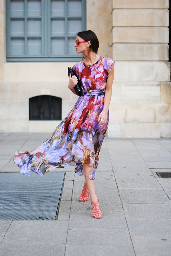 Picture Of very colorful printed watercolor midi dress and pink .