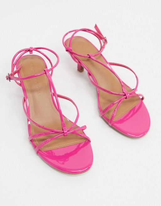 Who What Wear Freya strappy mid heeled sandals in pink patent | AS