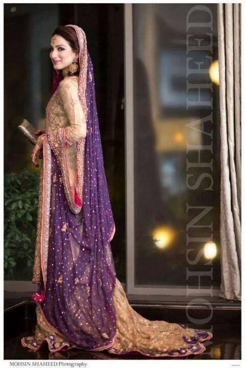 golden - cream - purple long gown / Pakistani maxi dress dulhan .