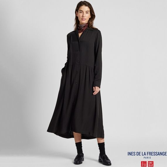 WOMEN IDLF Rayon Shirt Long Sleeve Dress | UNIQ