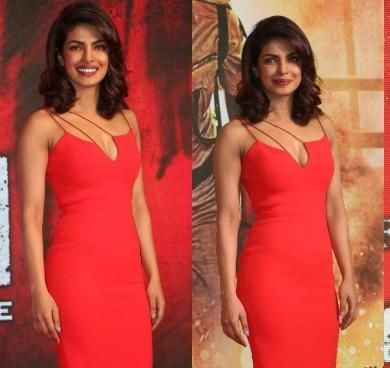 Want a similar red bodycon dress like Priyanka Chopra is wearing .