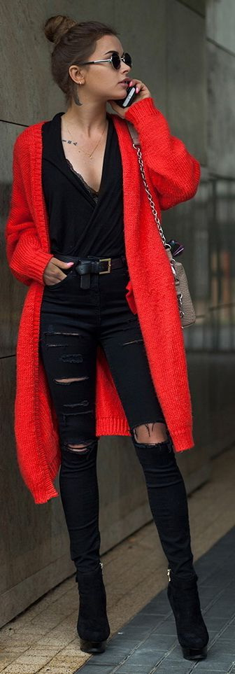 buy > outfits with red cardigan, Up to 60% O