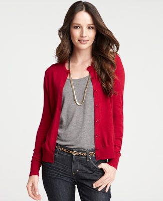 New Arrivals | Ann Taylor | Red cardigan outfits, Red cardigan .