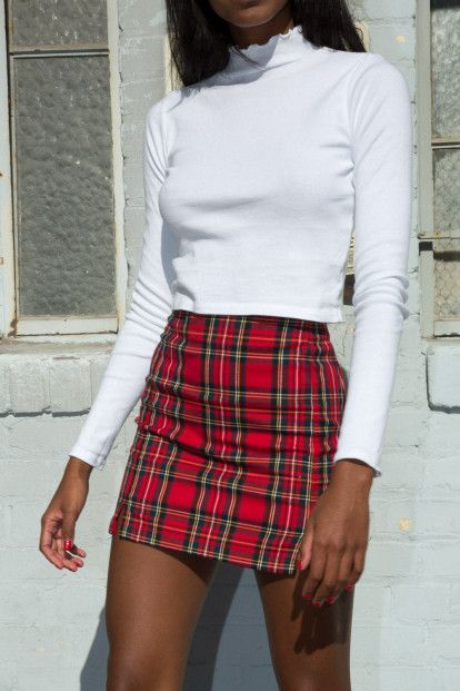 Tops - Clothing | Red skirt outfits, Plaid outfits, Red plaid ski
