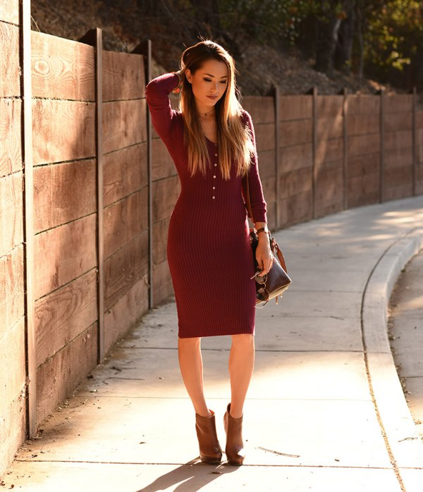 How to Wear Red Sweater Dress: 15 Attractive Outfit Ideas - FMag.c