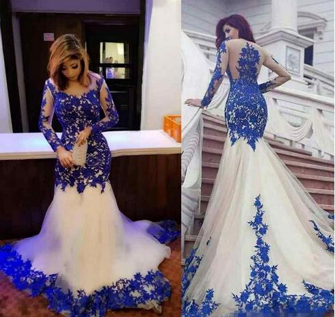 Mermaid Formal Evening Dresses Royal Blue Lace Appliques Sheer .