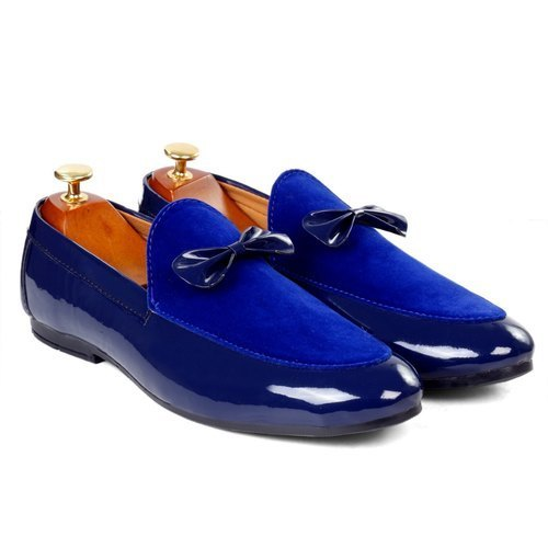 Party Wear Singing Bird Mens Synthetic Leather Royal Blue Loafer .