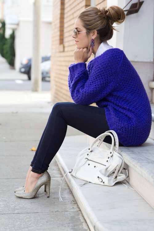 royal blue sweater for fall   Blue sweater outfit, Fashion, Royal .