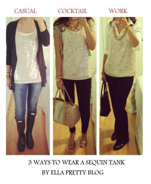 One Sequin Top - Styled 3 Ways | Clothing blogs, Fashion, Top styl