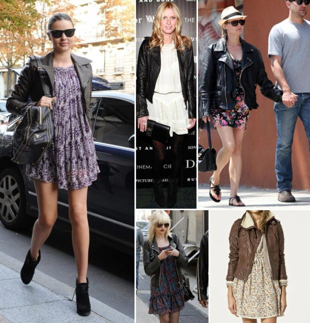 how to wear short summer dress in winter leather jacket .
